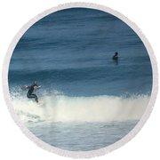 Surfing Carmel Beach Two Round Beach Towel