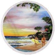 Surfing In Rincon Round Beach Towel