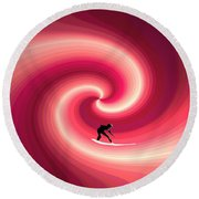 Surfing In The Sunset Two Round Beach Towel