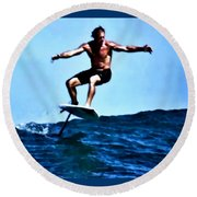 Surfing Legends 5 Round Beach Towel