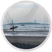 Surfing On Good Harbor Beach Gloucester Ma Round Beach Towel