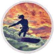 Surfing Round Beach Towel