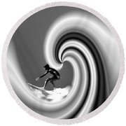 Surfing The Pacific In Black And White Round Beach Towel