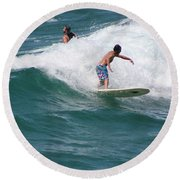 Surfing The White Wave At Huntington Beach Round Beach Towel