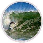 Surfing The Winter Atlantic Round Beach Towel