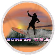 Surfing U.s.a. Round Beach Towel