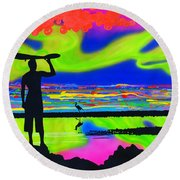 Surfscape Dreaming Round Beach Towel