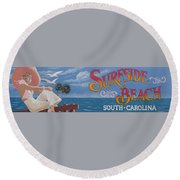 Surfside Beach Sign Round Beach Towel