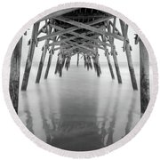 Surfside Pier Exposure Round Beach Towel