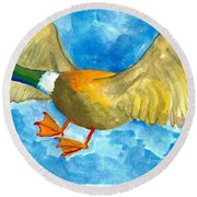 Surprised Flying Duck Detail Of Duck Meets Fairy Ballet Class Round Beach Towel