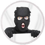 Surprised Robber Holding Blank Security Sign Round Beach Towel