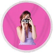 Surprised Woman Taking Picture With Old Camera Round Beach Towel