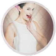 Surprised Woman With Brunette Hair And Red Lips Round Beach Towel