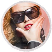 Surprised Young Woman Wearing Fashion Sunglasses Round Beach Towel