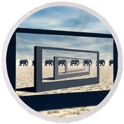 Surreal Elephant Desert Scene Round Beach Towel