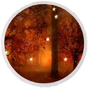 Surreal Fantasy Autumn Woodlands Starry Night Round Beach Towel
