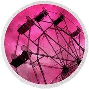 Surreal Fantasy Dark Pink Ferris Wheel Carnival Ride Starry Night - Pink Ferris Wheel Home Decor Round Beach Towel