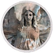 Surreal Fantasy Dreamy Angel Art Wings Round Beach Towel
