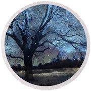 Surreal Fantasy Fairytale Blue Starry Trees Landscape - Fantasy Nature Trees Starlit Night Wall Art Round Beach Towel