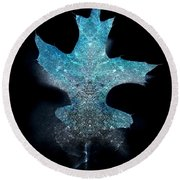Surreal Ice Leaf Round Beach Towel