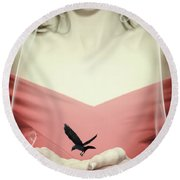 Surreal Image Of Woman With Bird Round Beach Towel