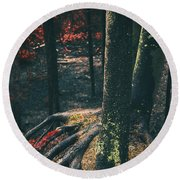 Surreal Red Leaves In A Dark Forest Finland Round Beach Towel