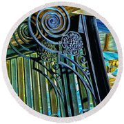 Surreal Reflection And Wrought Iron Round Beach Towel