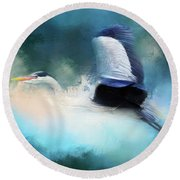 Surreal Stork In A Storm Round Beach Towel