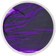 Surreal Surfing Purple Round Beach Towel