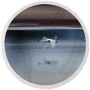 Surreal Swans Round Beach Towel