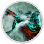 Surrealist And Abstract Painting In Orange And Turquoise Color Round Beach Towel