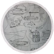 Surrealist Man And Woman Round Beach Towel