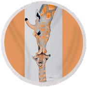 Surrealist Mother And Baby Giraffe  Round Beach Towel
