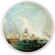 Surrender Of The Santissima Trinidad To Neptune The Battle Of Trafalgar Round Beach Towel