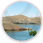 Surrounded By Mountains Round Beach Towel