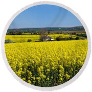 Surrounded By Rapeseed Flowers Round Beach Towel