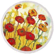 Surrounded In Gold Round Beach Towel by Jennifer Lommers