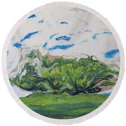 Surrounded With Clouds Round Beach Towel