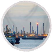 Survey And Cargo Ships Off The Coast Of Singapore Petroleum Refi Round Beach Towel