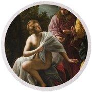 Susanna And The Elders Round Beach Towel by Ottavio Mario Leoni