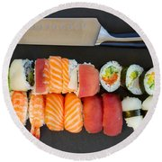 Sushi And Knife Round Beach Towel