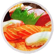 Sushi Plate 1 Round Beach Towel