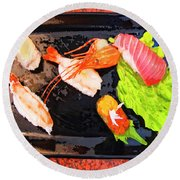 Sushi Plate 2 Round Beach Towel