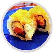 Sushi Plate 3 Round Beach Towel