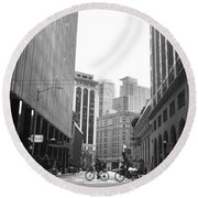 Sutter Street Cyclists - San Francisco Street View Black And White  Round Beach Towel