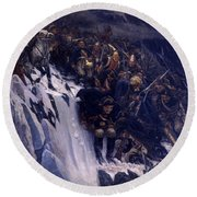 Suvorov Crossing The Alps In 1799 Round Beach Towel