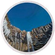 Svartifoss Waterfall, Iceland Black Round Beach Towel