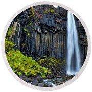 Svartifoss Waterfall - Iceland Round Beach Towel