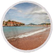 Sveti Stefan Island Iconic Landmark Round Beach Towel