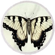 Swallow-tail Butterfly Round Beach Towel